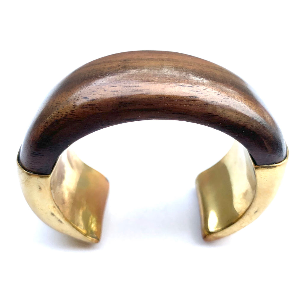 WOOD AND BRASS CUFF BRACELET