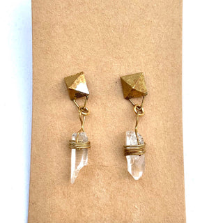 QUARTZ AND BRASS WRAP EARRINGS