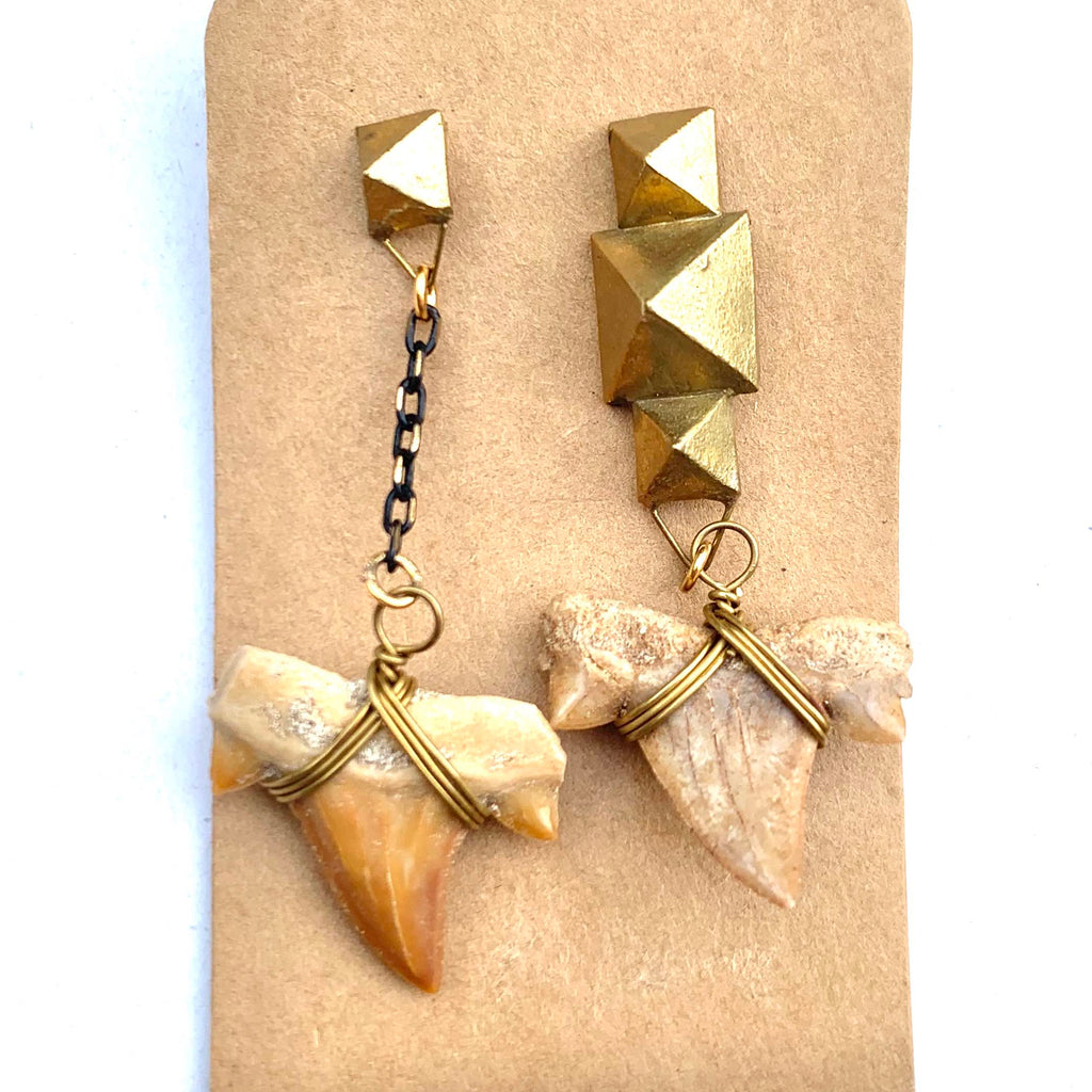 SHARK TOOTH AND BRASS WRAP EARRINGS