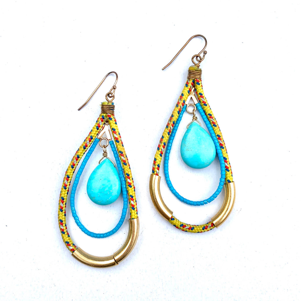 YELLOW AND TURQUOISE ROPE BEADED DANGLE EARRINGS