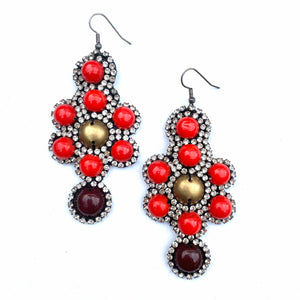 BOLD RED BROWN AND RHINESTONE DANGLE EARRINGS