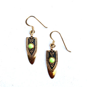 BRASS AND GREEN SMALL DANGLE EARRINGS