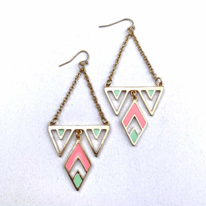 PASTEL TRIANGLE DANGLE EARRINGS