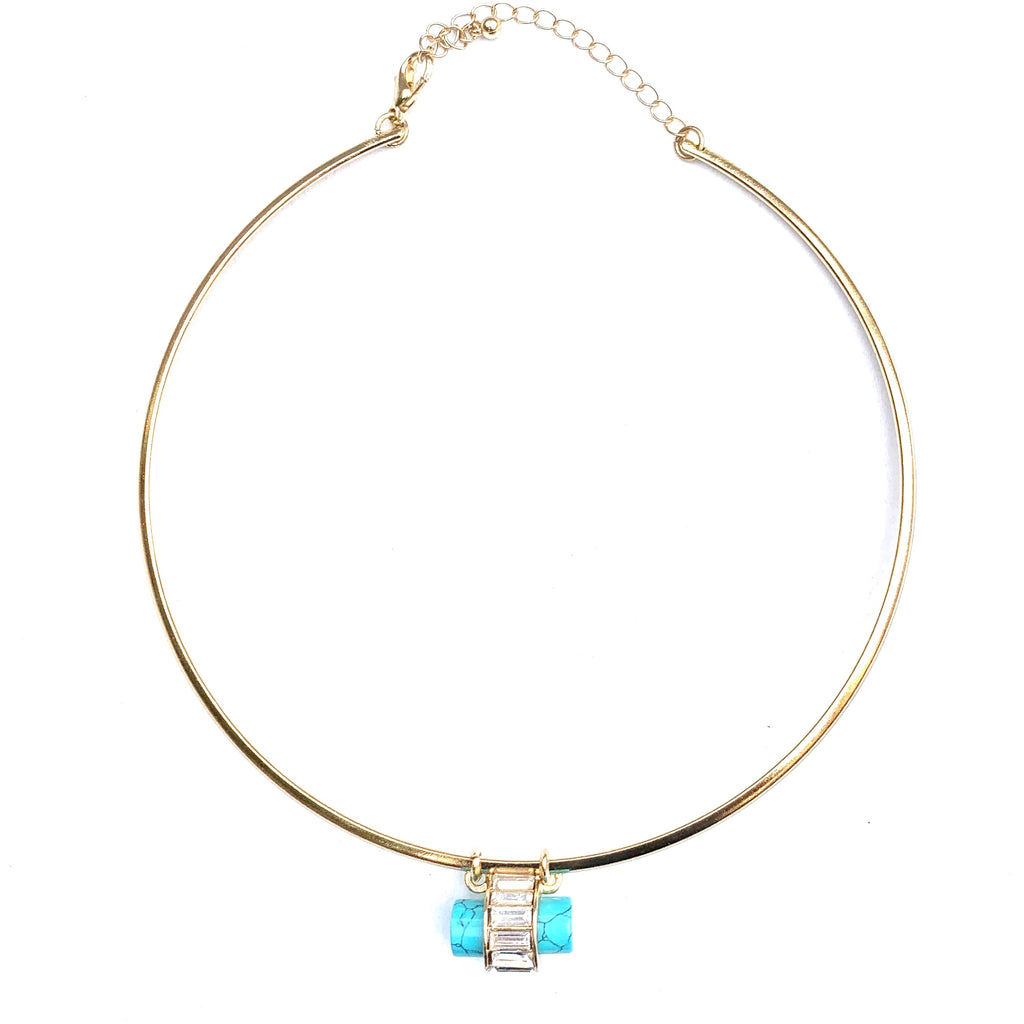 GOLD AND TURQUOISE CRICLE NECKLACE