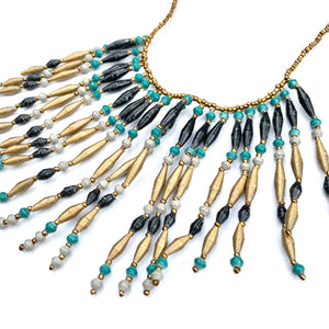 31 BITS - PAPER BEAD BLACK TEAL AND GOLD FRINGE NECKLACE