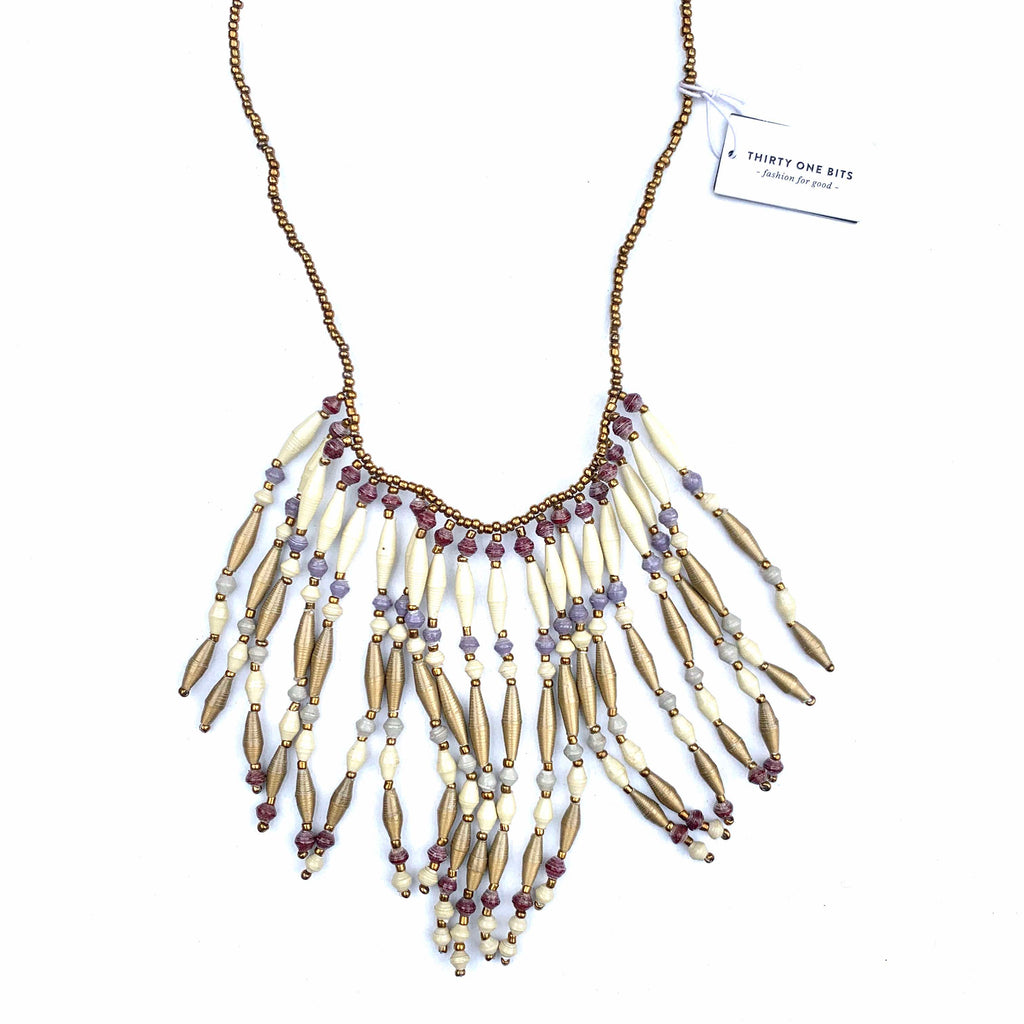 31 BITS - PAPER BEAD CREAM PURPLE AND GOLD FRINGE NECKLACE