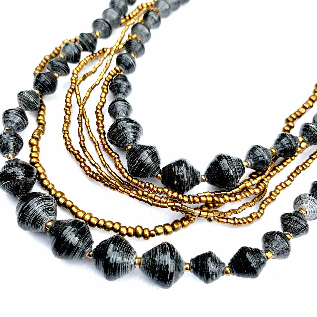 31 BITS - PAPER BEAD BLACK AND GOLD LAYERED NECKLACE