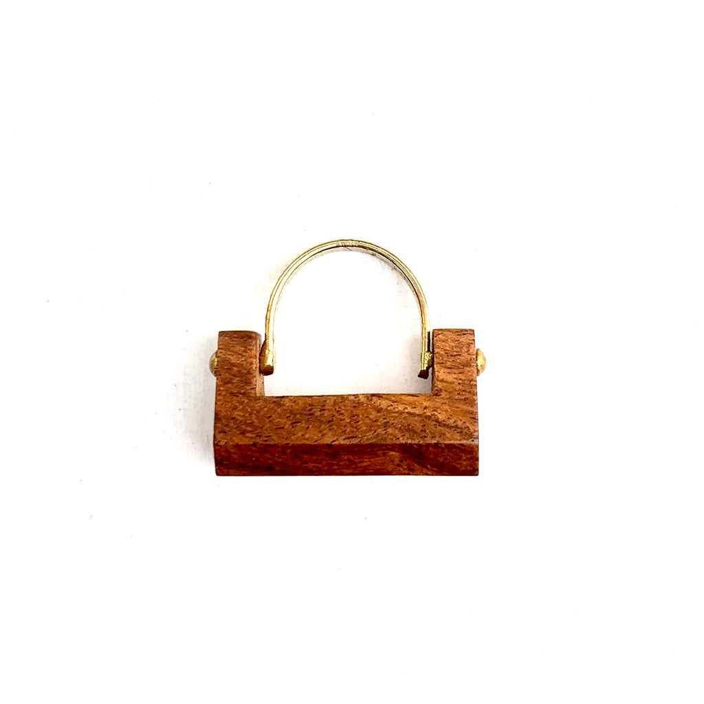 WOOD AND GOLD BAR RING