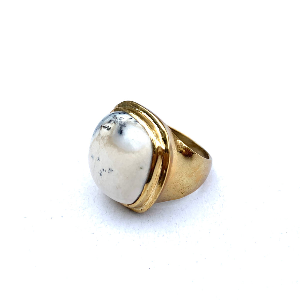 MADE IN LA - GRAY CREAM AND BRASS STONE RING