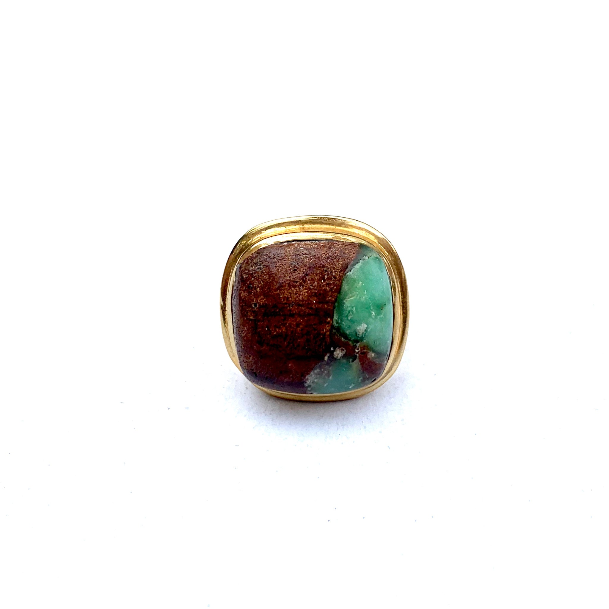 MADE IN LA - GREEN BROWN AND BRASS STONE RING