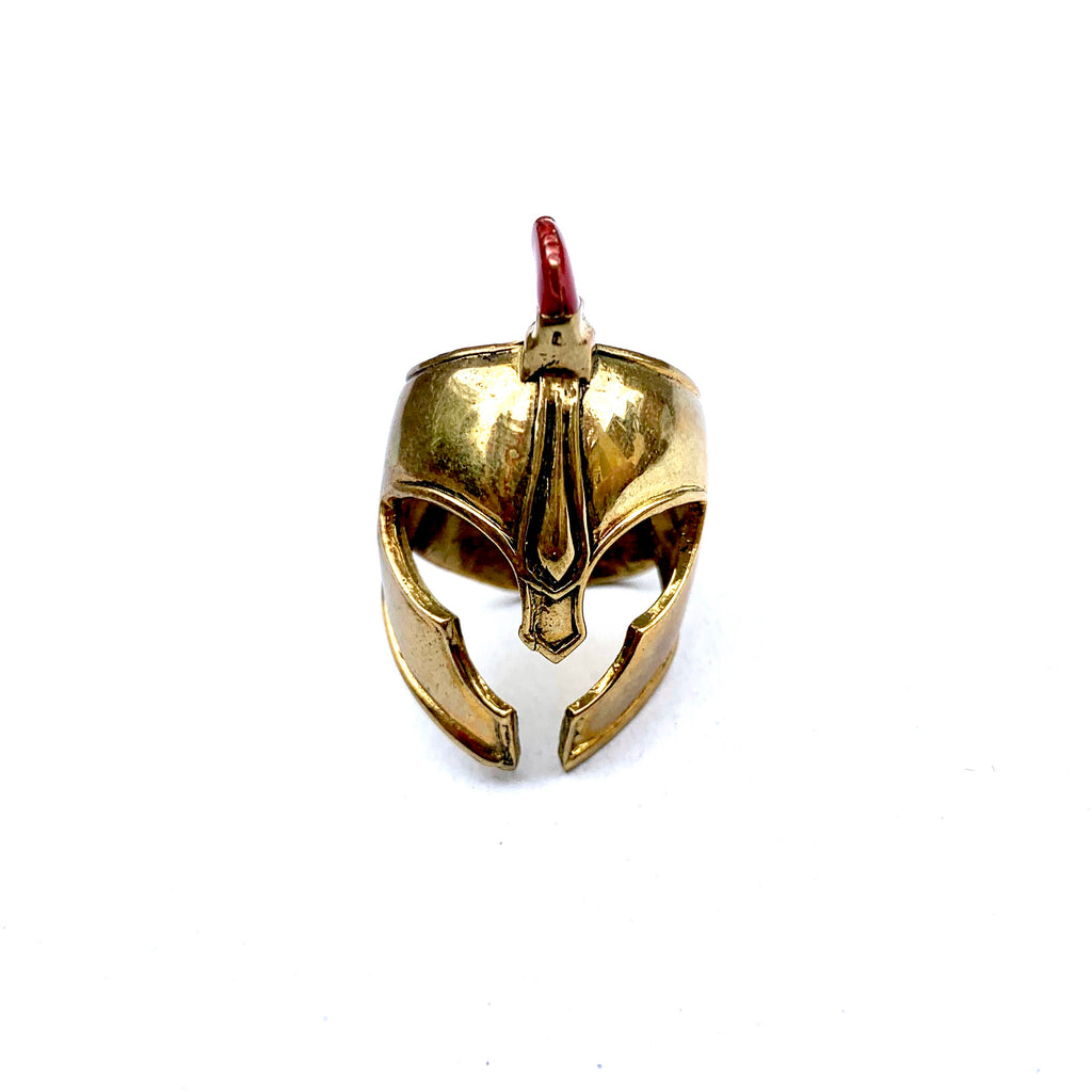FULL BRASS TROJAN HELMET RING