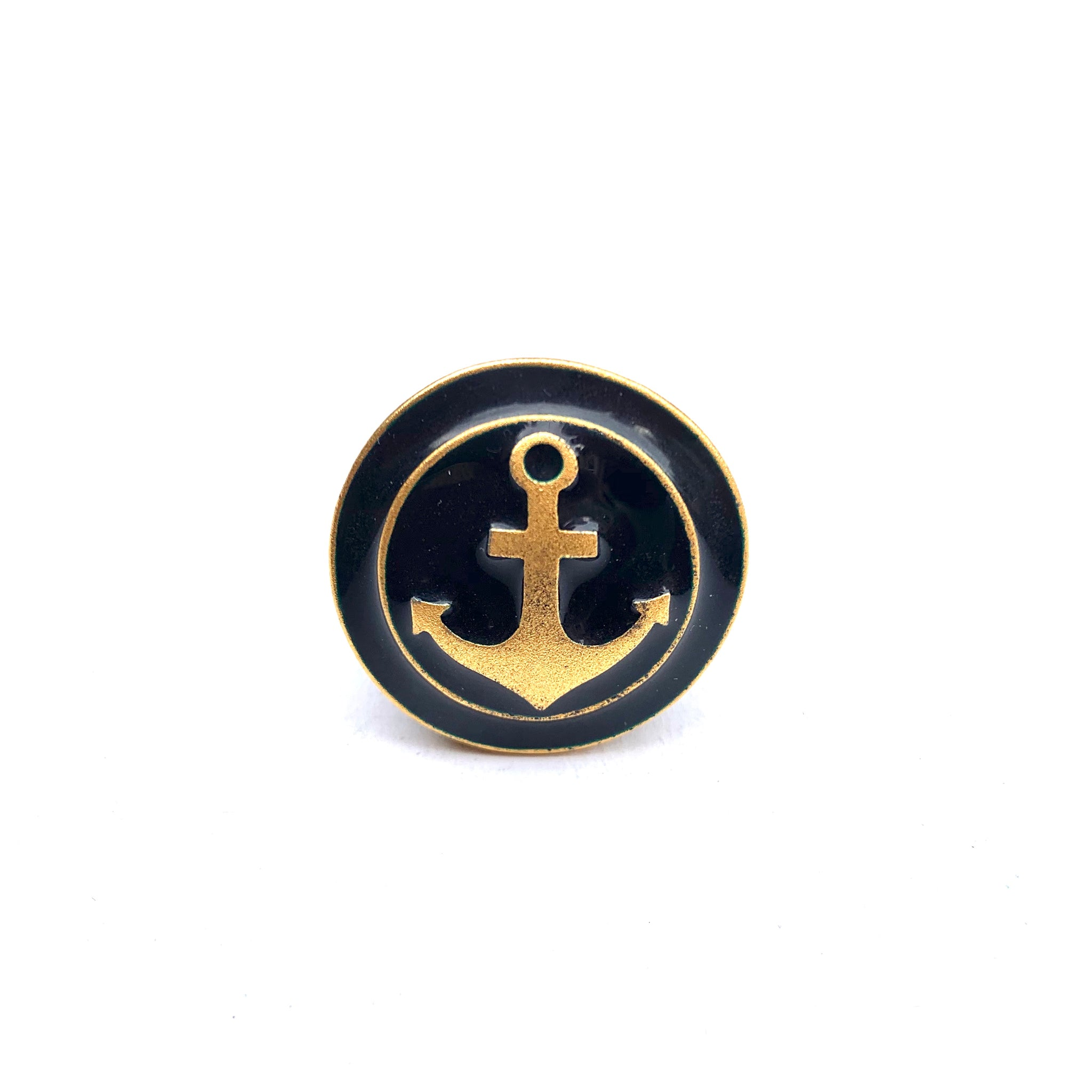 NAVY AND GOLD ANCHOR AND WOOD RING
