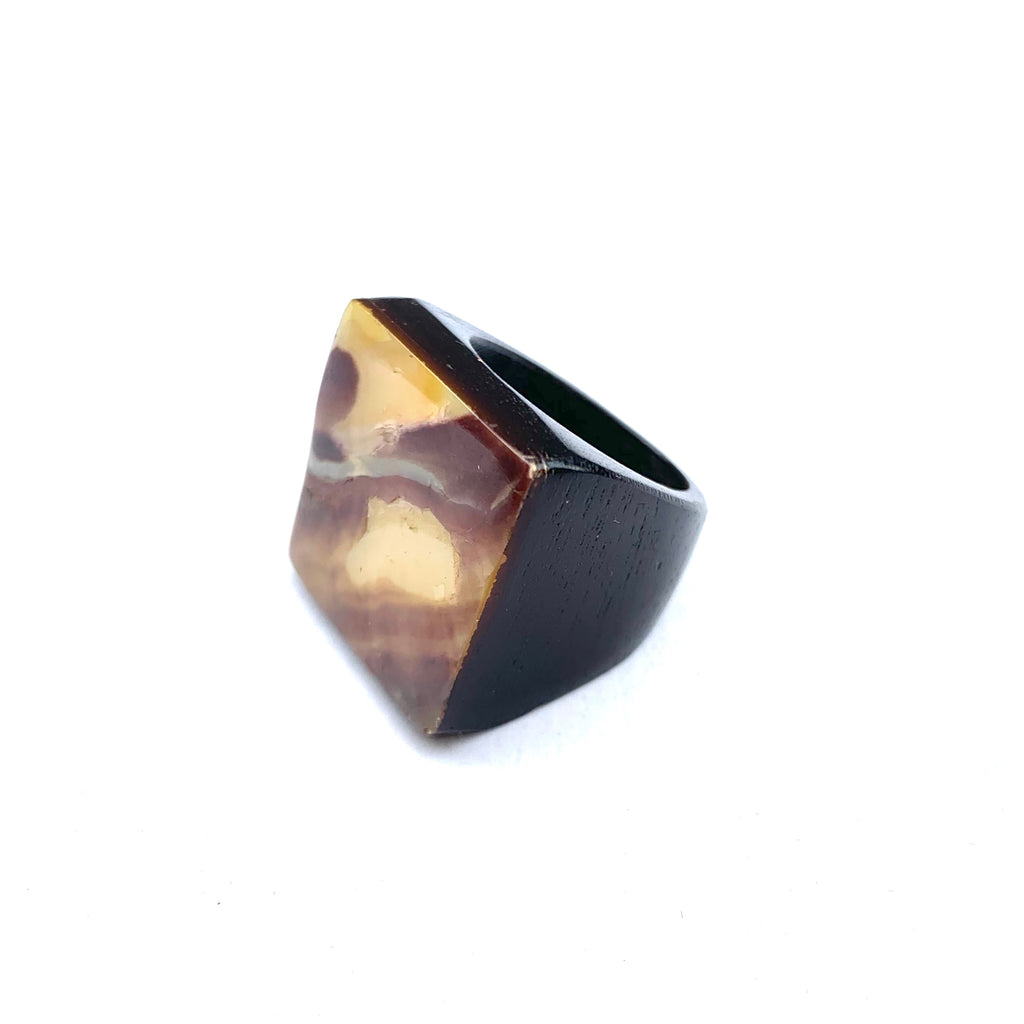 ABALONE AND WOOD SQUARE RING