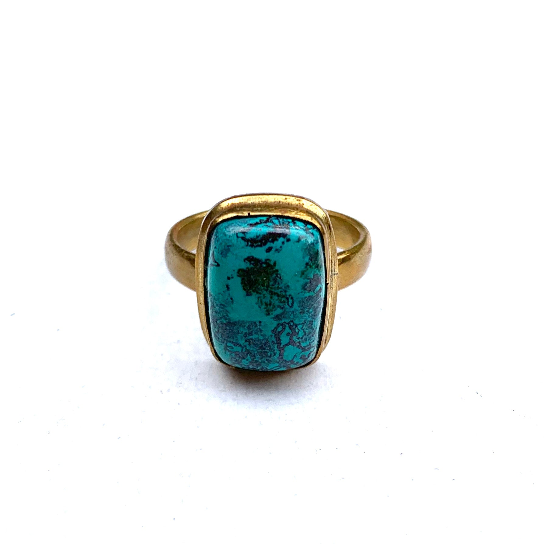 TURQUOISE AND BRASS RECTANGLE RING