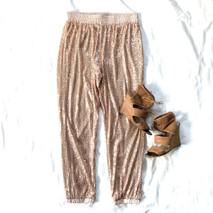 DANCE YOUR HEART OUT - ROSE GOLD SEQUIN PANTS