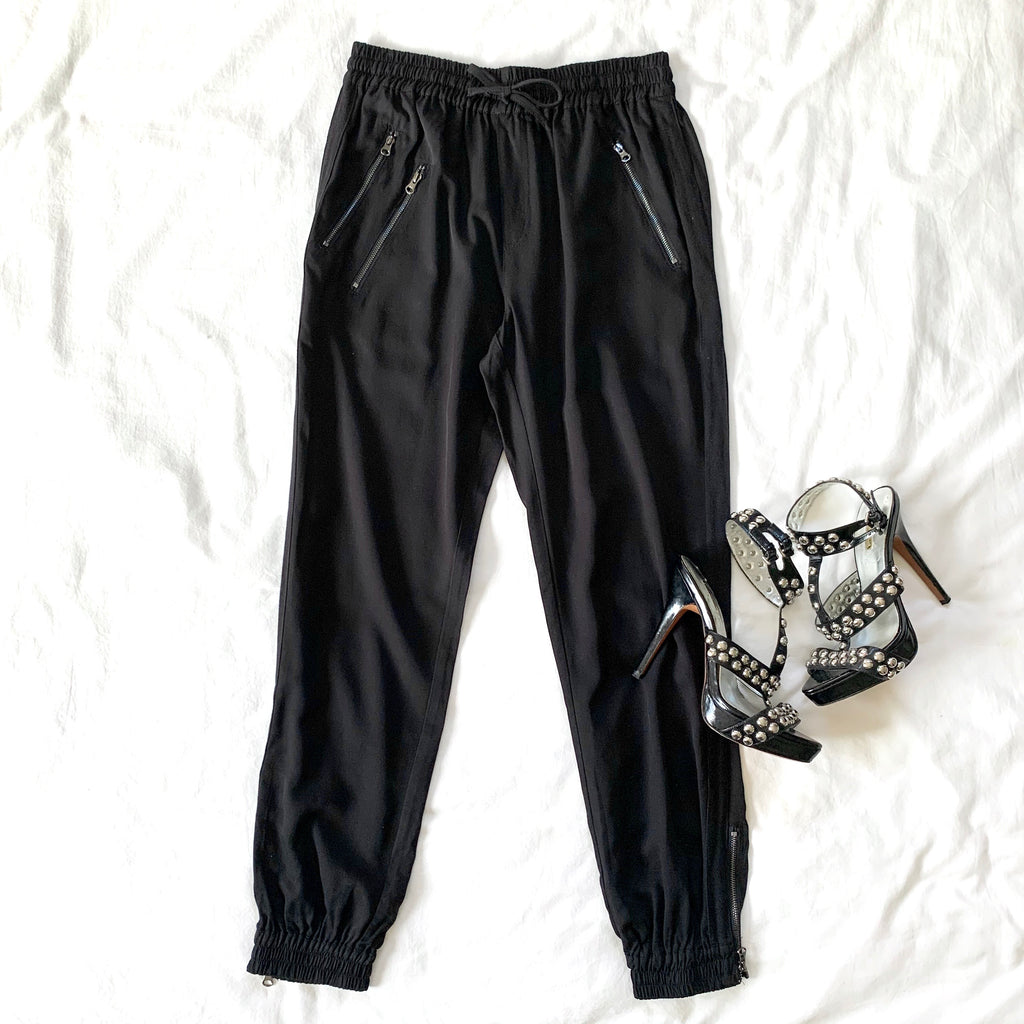 IT'S MY LIFE - BLACK ZIP JOGGERS