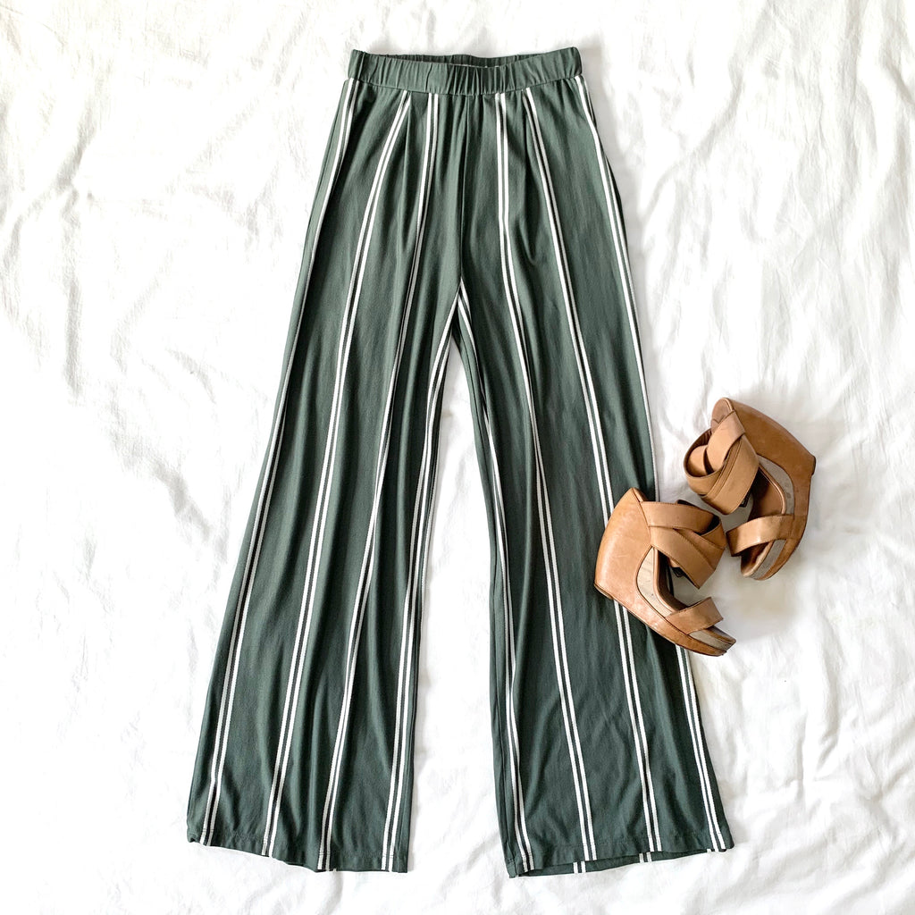 LOVE STORY - OLIVE STRIPED PANT
