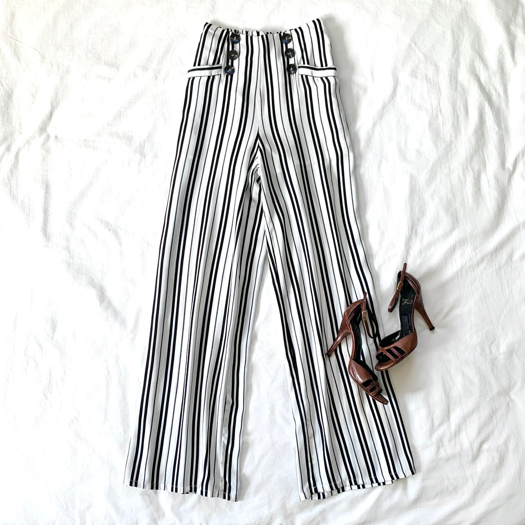 VIBRANT ME - BLACK AND WHITE STRIPE FLOWY PANT