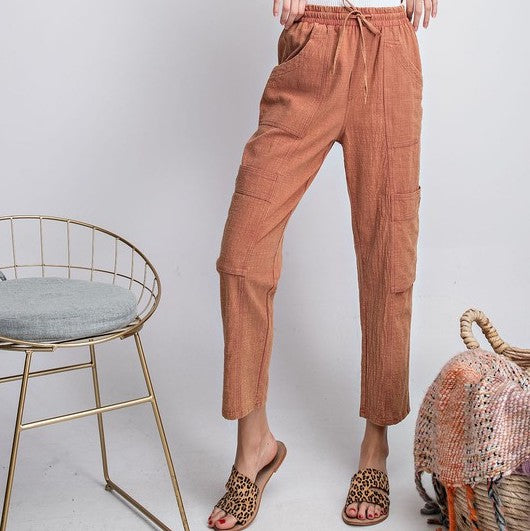 MEET ME AT SUNSET - PUMPKIN LIGHTWEIGHT DRAWSTRING PANT