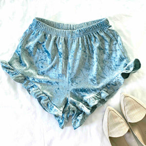 SUMMER CUDDLES - SEA BLUE VELVET HIGH-WAIST RUFFLE SHORTS