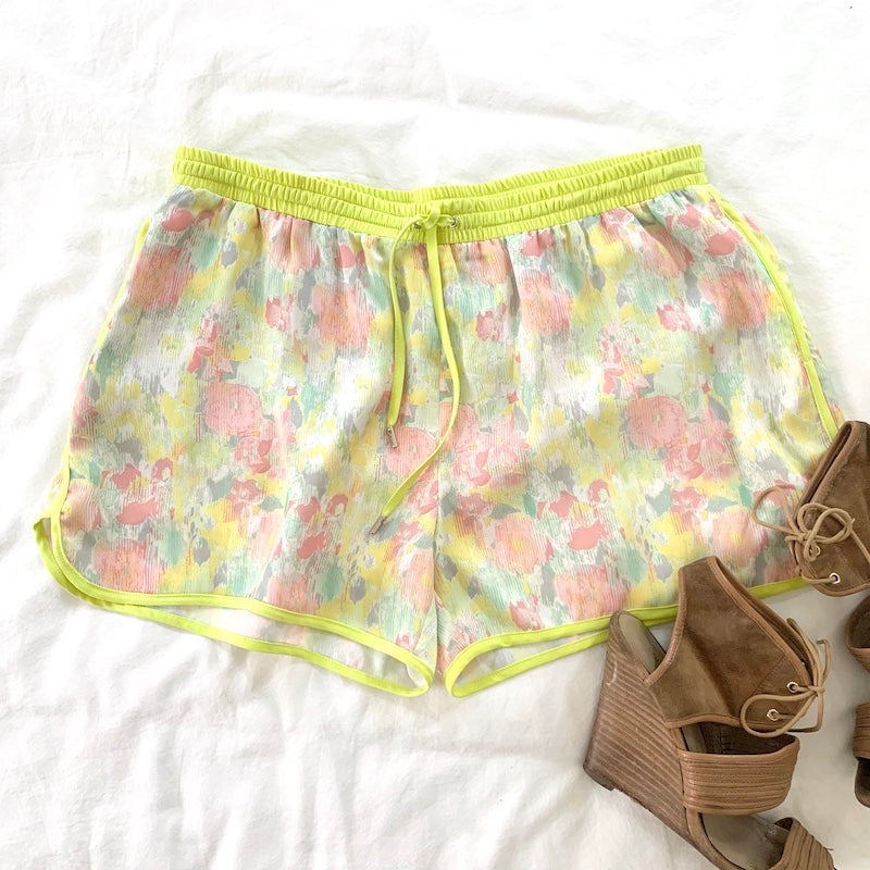 Chartreuse Floral Short