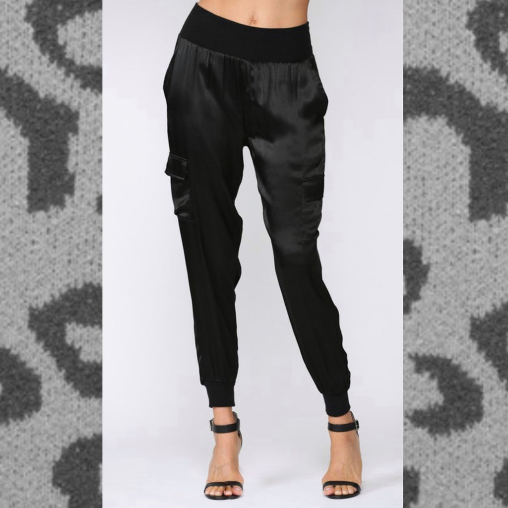 FLOATING IN MY DREAMS - BLACK SATIN CARGO JOGGERS