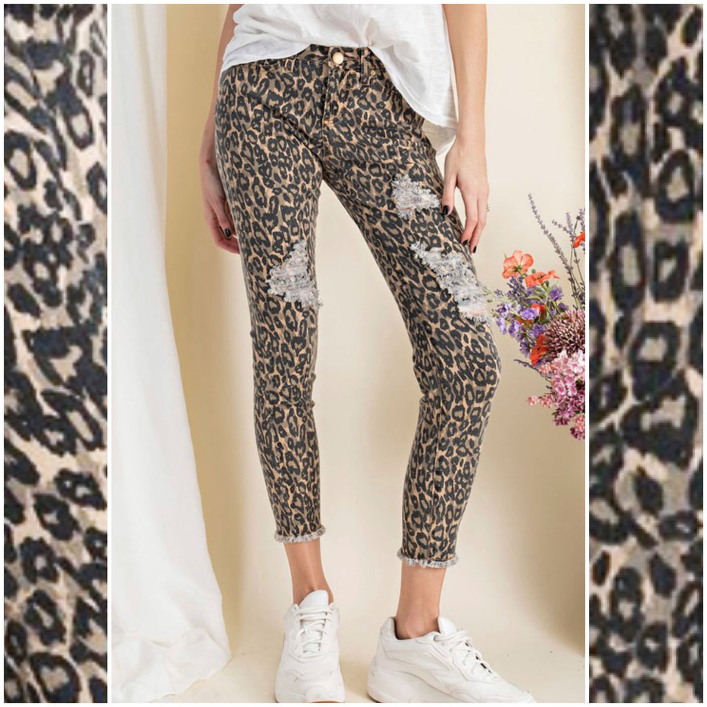 ROCKSHOW - LEOPARD DISTRESSED DENIM