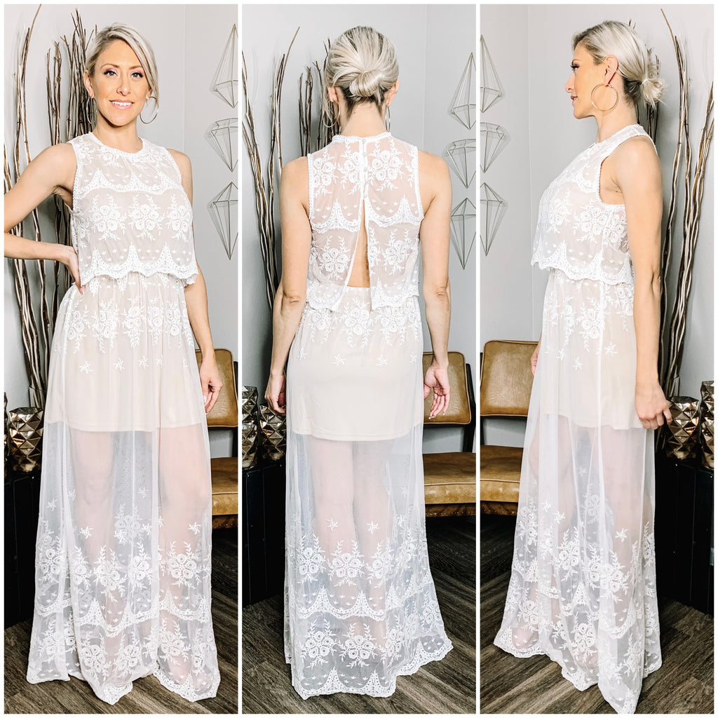 DON'T STOP BELIEVIN' - OPEN BACK LACE TANK DRESS