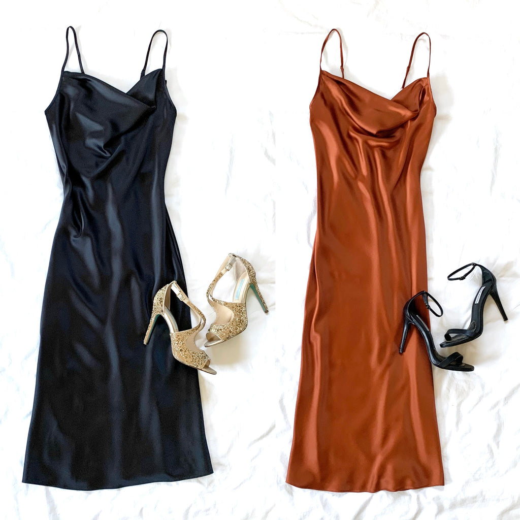 WHAT YOU WANT - COWLNECK SPAGHETTI STRAP DRESS (2 colors)
