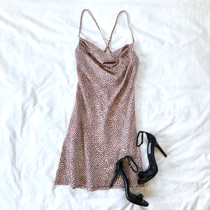 LIVE FOR THE SHINE - PINK POKA DOT COWLNECK DRESS