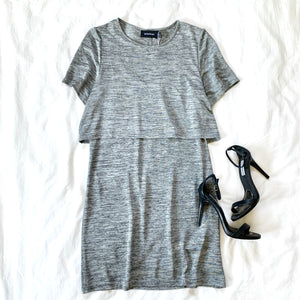 PUT IT ON THE PULSE - GRAY SLINKY TWOFER DRESS