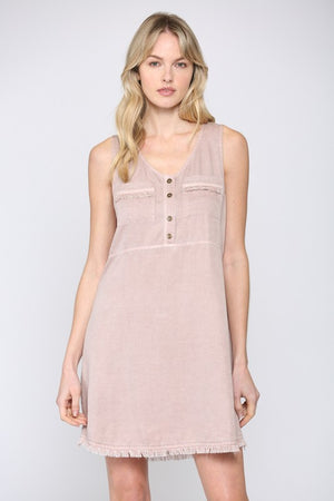 RIGHT HERE RIGHT NOW - BLUSH PINK SLEEVELESS TWILL DRESS