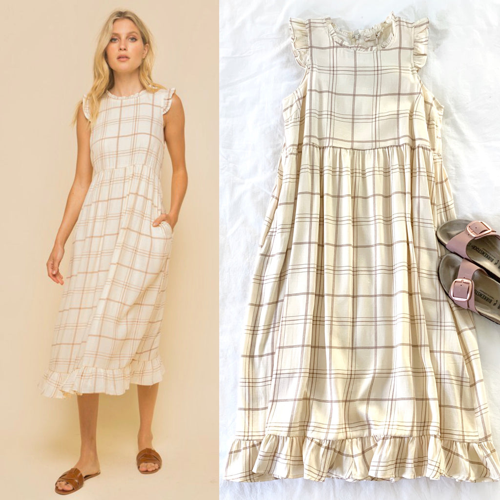 TAKE MY HAND - CREAM AND BROWN RELAXED FIT RUFFLE DRESS
