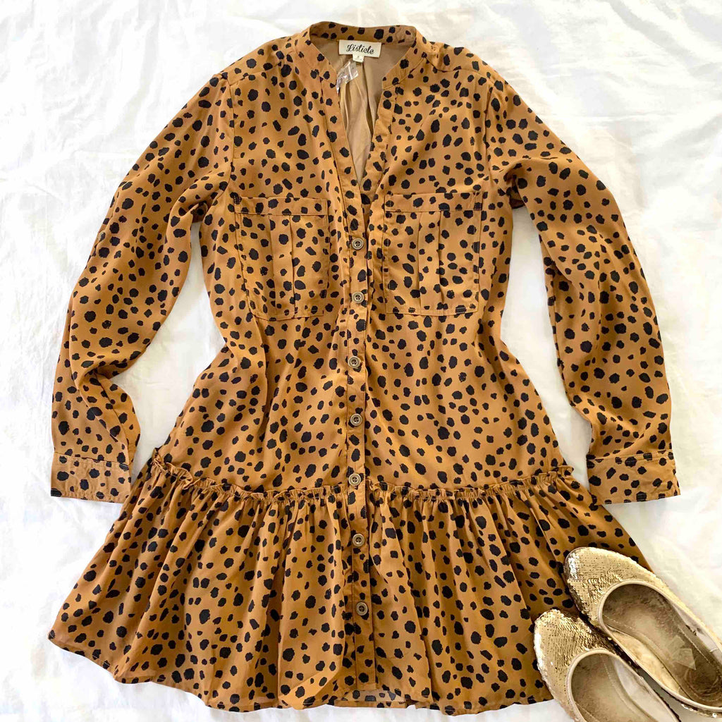 LOST IN THE WEEKEND - BRICK ANIMAL PRINT CARGO DRESS