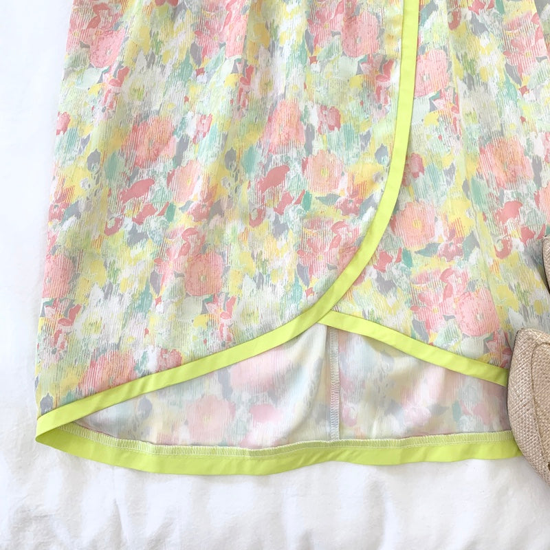 CHARTREUSE AND PINK FLORAL SHORT DRESS