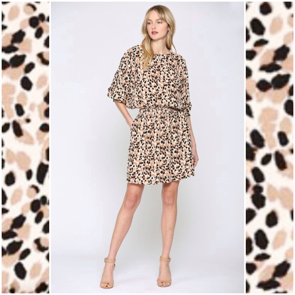 AFTER HOURS - LEOPARD DOLMAN SLEEVE DRESS