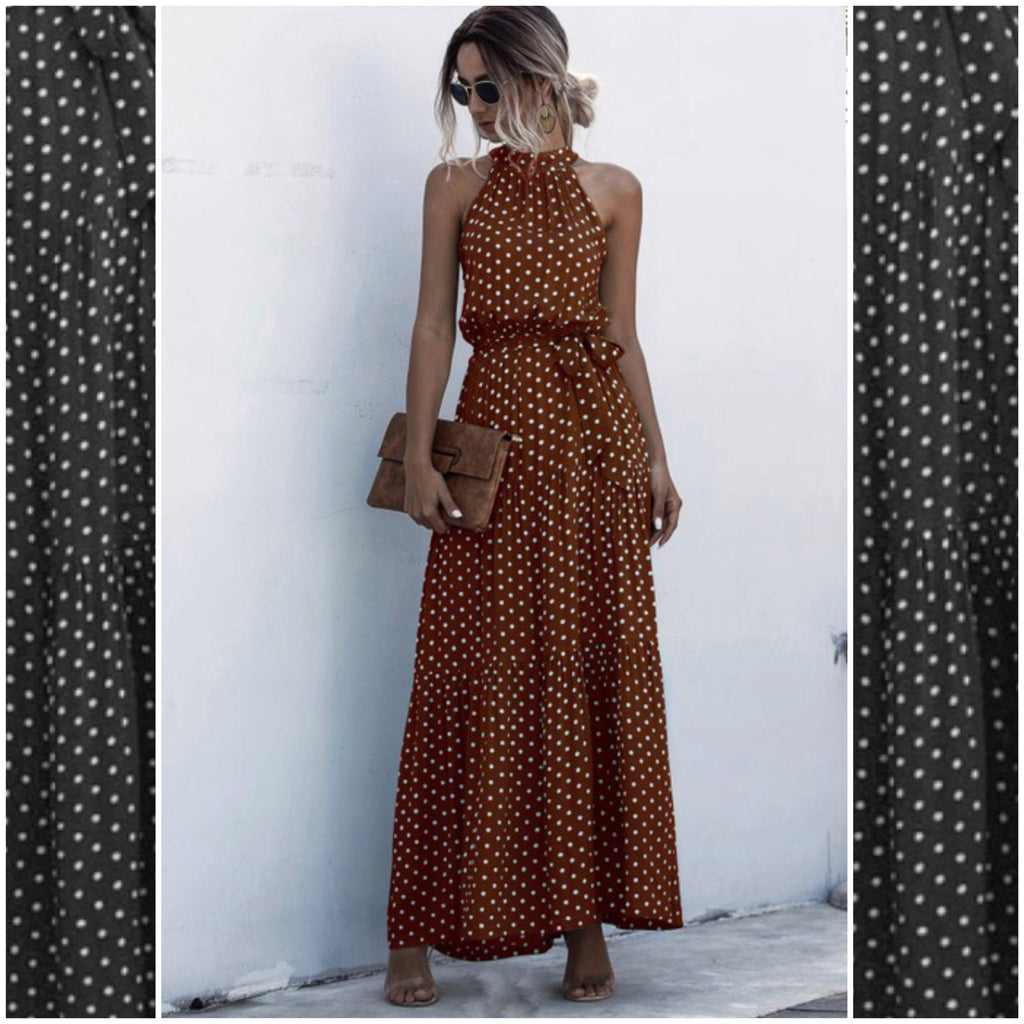 ABOVE THE CLOUDS - BROWN POKA DOT HALTER DRESS