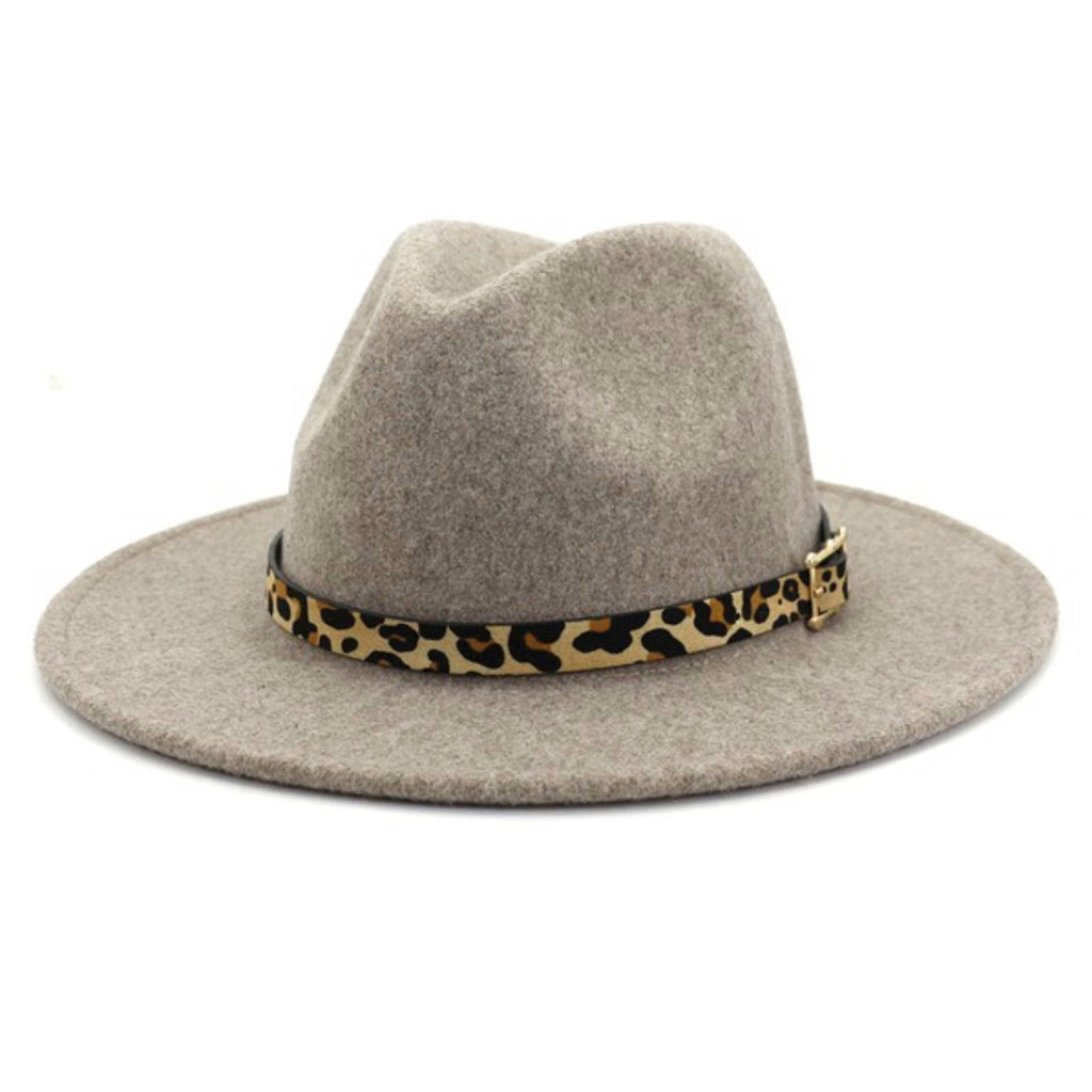 GOOD AS GOLD - OATMEAL WOOL LEOPARD PANAMA HAT