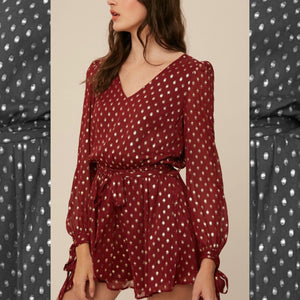 SWEET MOMENTS - MAROON AND GOLD DOT ROMPER
