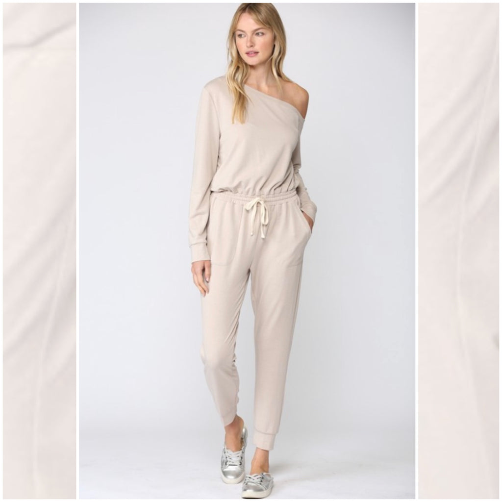 SET ME FREE - ONE SHOULDER TERRY JUMPSUIT