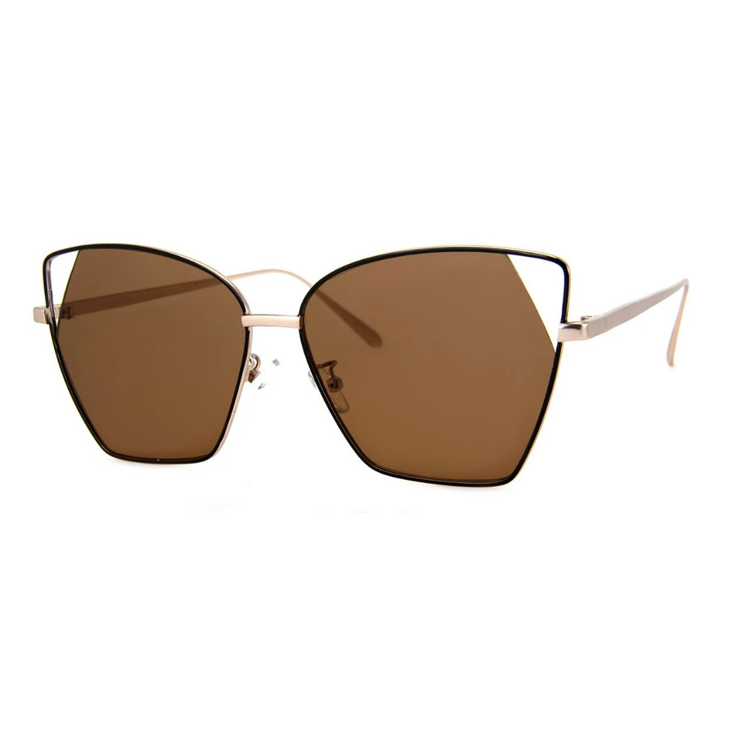 GOLD WIRE ANGLE CATEYE SUNGLASSES