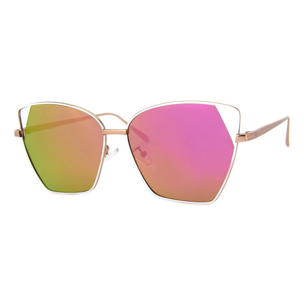 WHITE WIRE ANGLE RAINBOW CATEYE SUNGLASSES