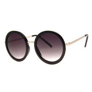OVERSIZED BLACK AND GOLD ROUND SUNGLASSES