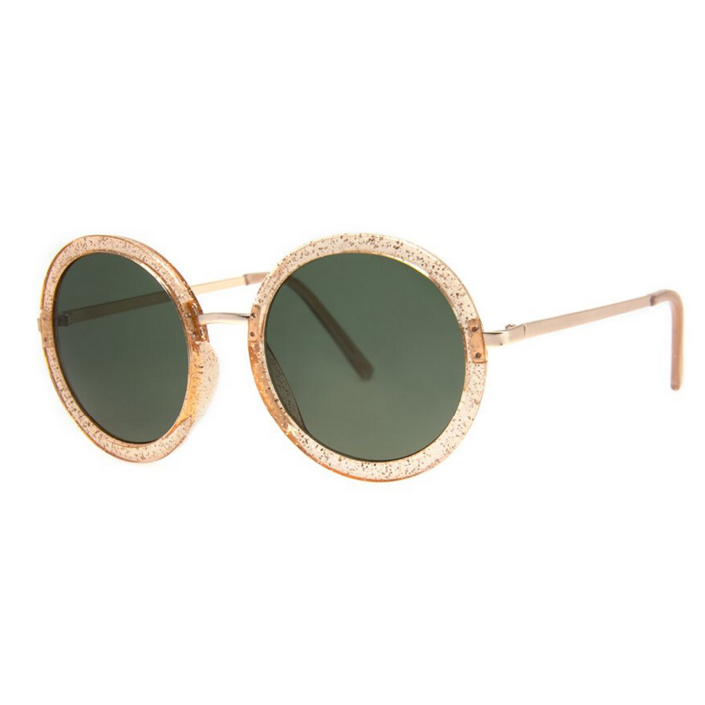 OVERSIZED GOLD GLITTER ROUND SUNGLASSES