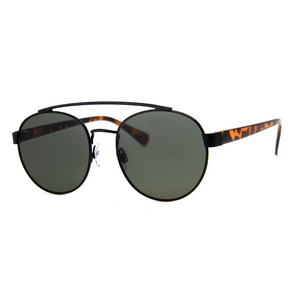 SPORTY BLACK AND TORTOISE ROUND SUNGLASSES