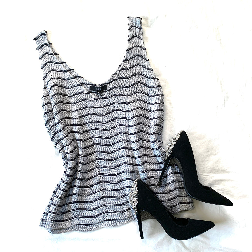 LIFE IS GOOD - NAVY/GRAY CHEVRON KNIT TANK