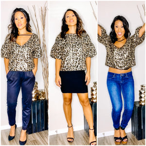READY TO ROCK - SEQUIN PUFF SLEEVE LEOPARD TOP