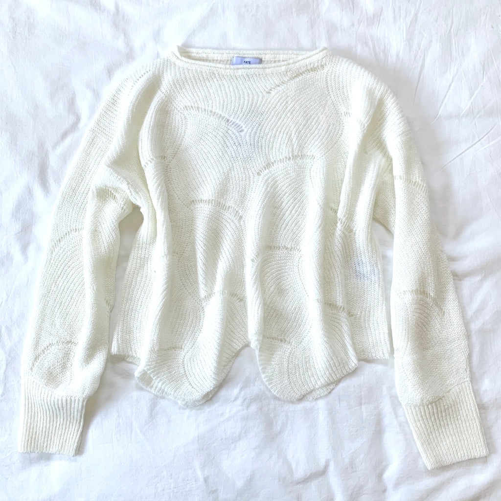 LET THERE BE LIGHT - TEXTURED CREAM LIGHTWEIGHT SWEATER