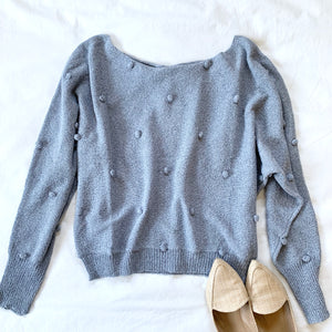 ON CLOUD NINE - BLUE POM POM SWEATER
