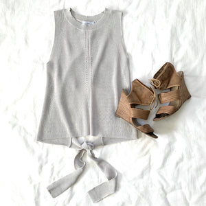 CAN'T HOLD ME BACK - GREY TIE BACK WAIST TANK